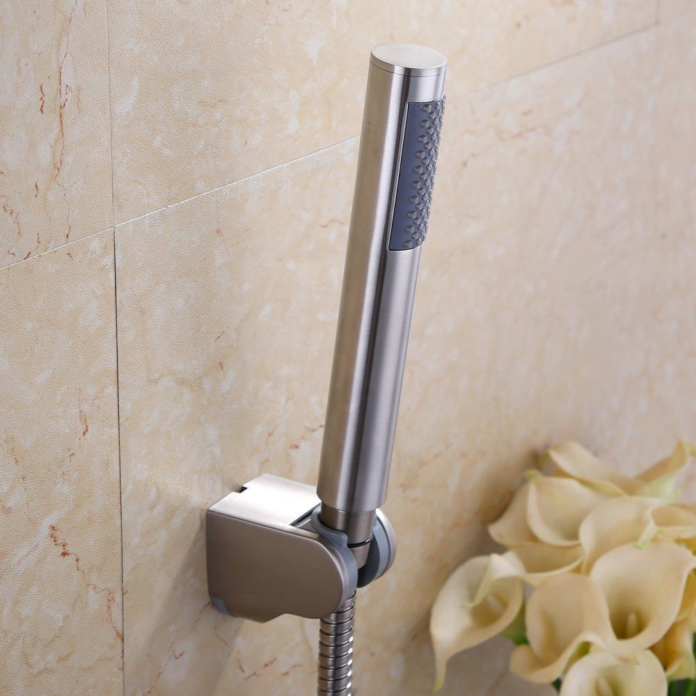 New Bathroom Brushed Nickel Round Brass/Copper Hand Held Shower Head ...