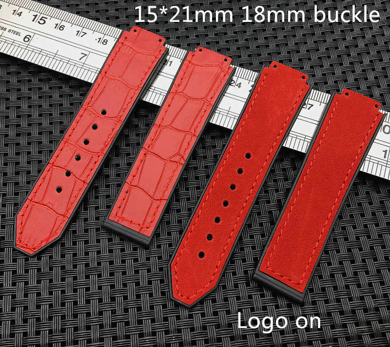 Red crazy Leather Warchband for Hublot female women rubber strap silicone watch accessories 15 x 21mm wrist belt band 18mm HUB