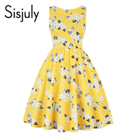Sisjuly 2018 Vintage Dress 1950s Floral Print Red Retro Party Women Dresses Summer Yellow Elegant A