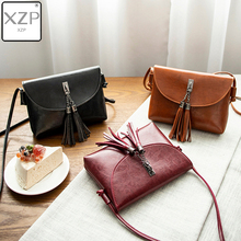 XZP Vintage Leather Female Shoulder Bag Tassel Women Cross body Bag 2019 Fashion Messenger Bag Small Flap Bags for Lady