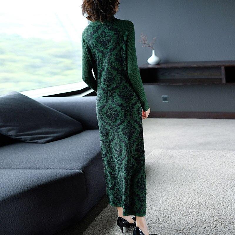 De Robes Taille Imprimé Vert Femme Robe Floral Longue Vintage Mode L'ukraine Grand Grande Festa Femmes Tricoté NOk8n0PXw