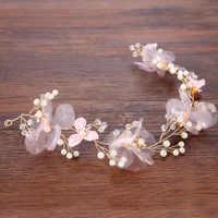 Mädchen Rosa Perle Blume Stirnbänder Handgemachte Goldene Draht Floral Frauen Haarband Kopfschmuck Hochzeit Braut Haar Schmuck Zubehör SL