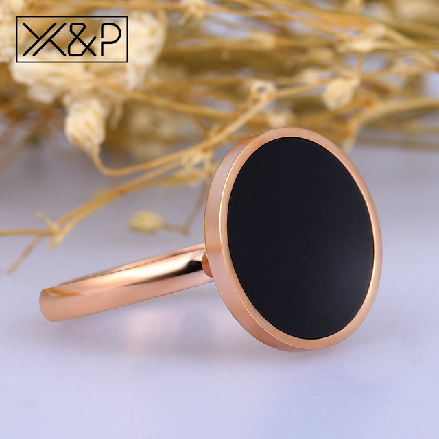 X&P New Arrival Luxury Zircon Crystal Inlay Black Finger Rings for Women Men Fashion 316L Stainless Steel Rose Gold Ring Jewelry