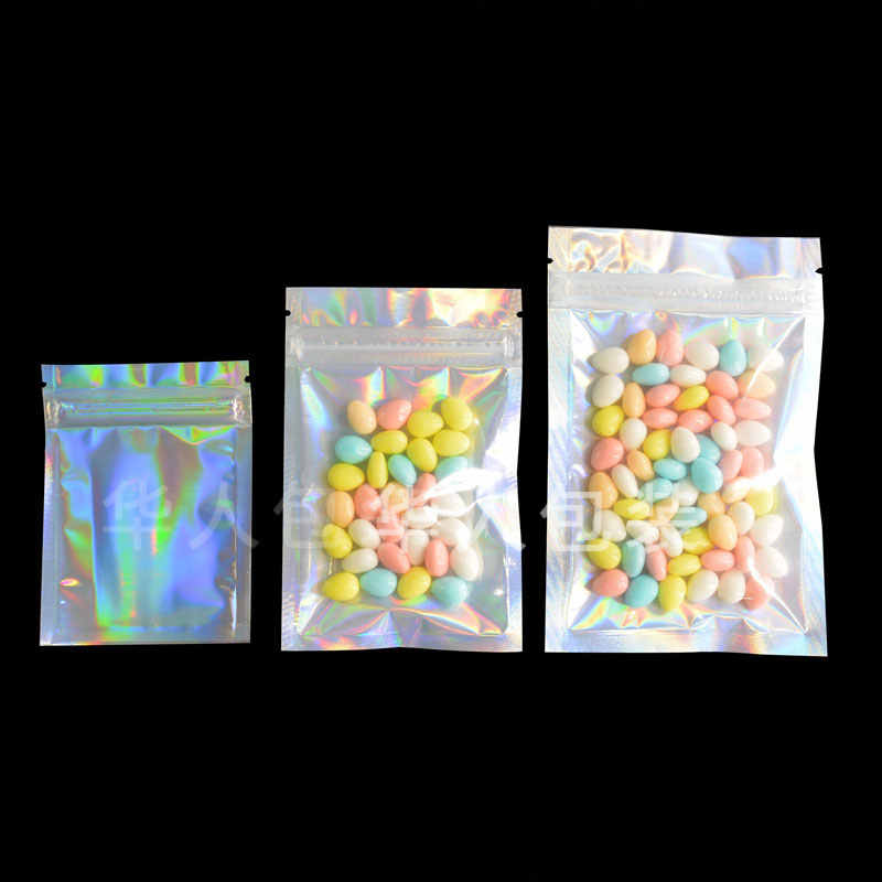 20pcs/lot Glitter Heat Seal Aluminum Foil Ziplock Bags Flat Zip Lock Retail Package Bag Plastic Foil Zip Bags