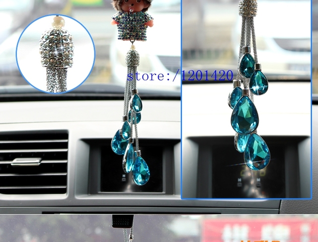 Monchichi rear view mirror charm crystal monchhchi car pendant woman Car Accessories unique girl gift blue gems tassel  pendant