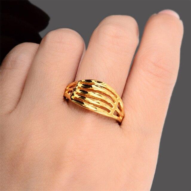 Fashion Men Women Daily Wear Jewelry 24k Gold Ring Charming Sexy