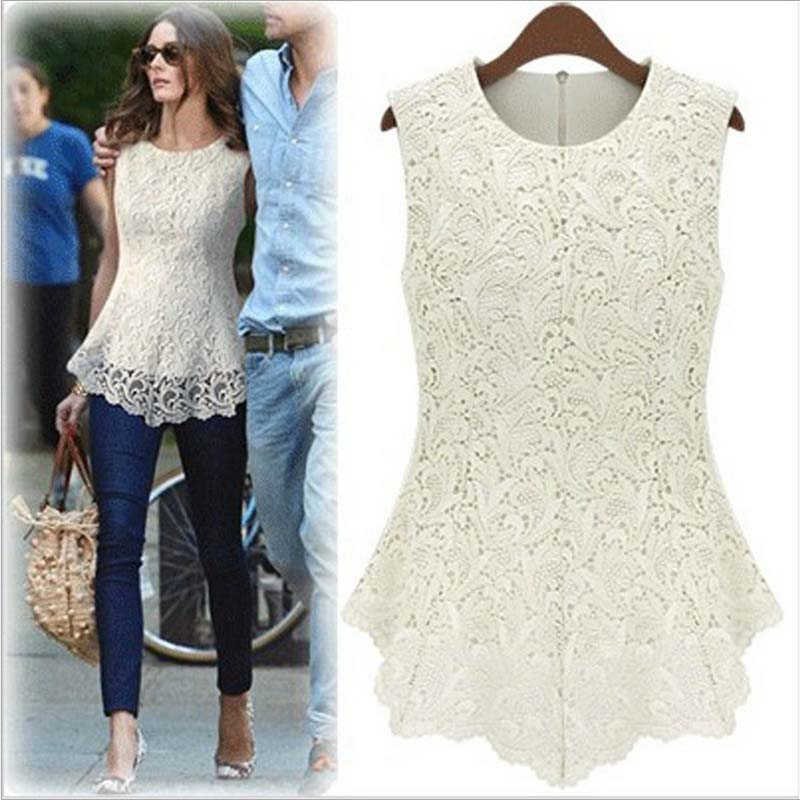 f5d662013e7 Fashion Summer Lace Patchwork Hollow Out Sleeveless Shirt Women Black White  Chiffon Blouse Casual Plus Size Crochet Chiffon Tops