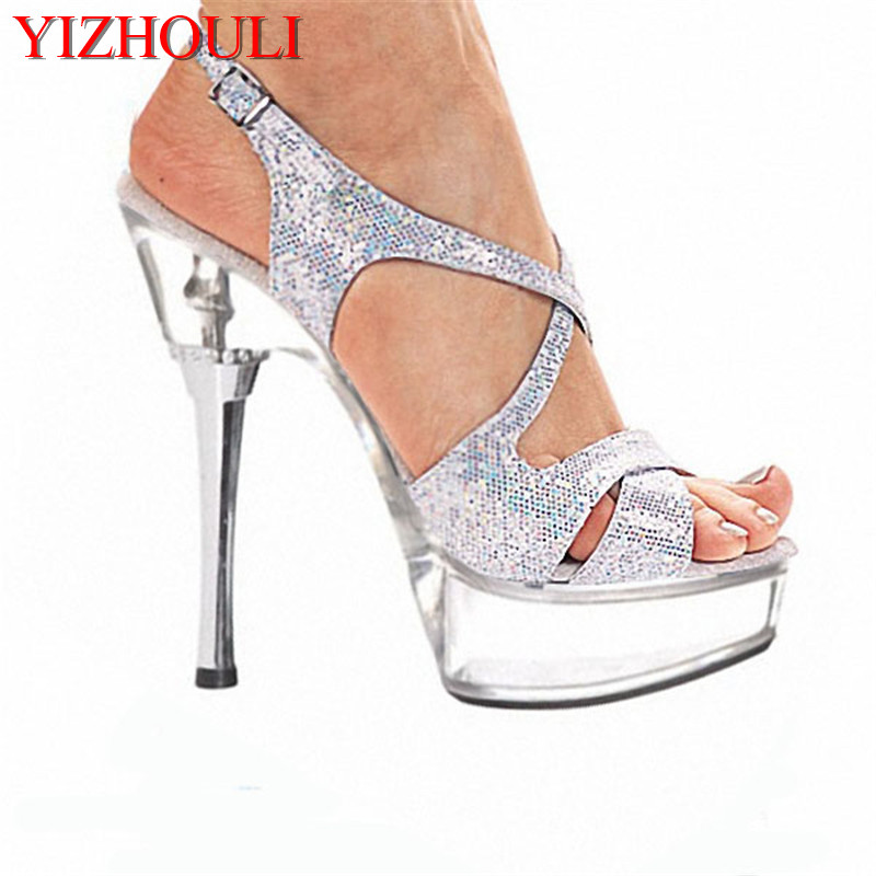 4cf02051350 Online Shop 14cm High-Heeled Shoes Crystal Platform Sexy Open Toe Sandals  Silver Glitter and Clear 5 Inch High Heel Mid Platform Sandals