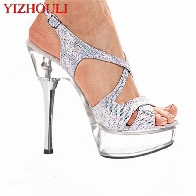 14cm High-Heeled Shoes Crystal Platform Sexy Open Toe Sandals Silver  Glitter and Clear 5 Inch High Heel Mid Platform Sandals 17aac371f36d