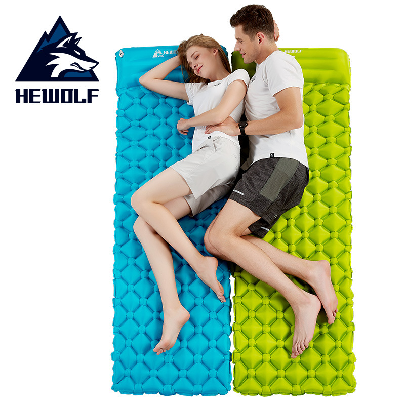 Outdoor Camping Inflatable Cushion Sleeping Bag Mat Fast Filling Air Moistureproof Hiking Camping Mat With Pillow Sleeping Pad naturehike sleeping pad fast filling air bag super light camping mat with pillow portable beach mat for rescue life cushion 550g