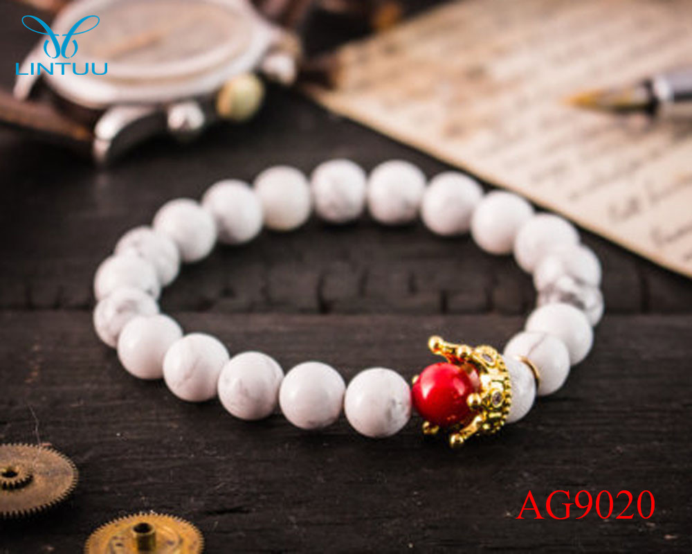Hot Sale Micro Pave Gold color King Crown Charm ATOLYEWOLF Bracelet Men white howlite Stone Bead Bracelets as Christmas gift