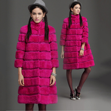 Good Quality Women luxury real rabbit Fur Coat long style Smooth lady Winter Overcoat Luxurious jacket Free Shipping  CW2884