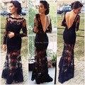 Kim Kardashian Opacidad de Encaje de Manga Larga Backless Negro Piso-Longitud Celebrity Vestido de Noche Vestido Formal