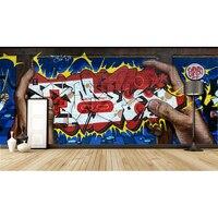 Popüler sokak sanatı renkli grafiti kişilik tuğla duvar oturma odası Restoran bar modern duvar kağıdı duvar