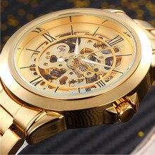 Brand Logo SHENHUA Luxury Gold Skeleton Automatic Mechanical Watch Men Dress Watches Men's Fashion Business Wristwatch