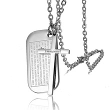 Religious 316L Stainless Steel Geometric Square and Cross Holy Bible Double Pendants Necklaces for Men Women Prayer Jewelry Army