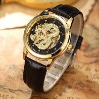 Luxury Dragon Skeleton Watch Automatic Self Wind Mechanical Men Watch Wrist Watch Leather Brand Waterproof bayan kol saati
