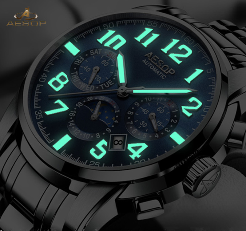 Aesop Роскошные для мужчин автоматические механические наручные часы Лидирующий бренд Световой мужские часы 3 суб-циферблаты 6 Руки Мужской ...