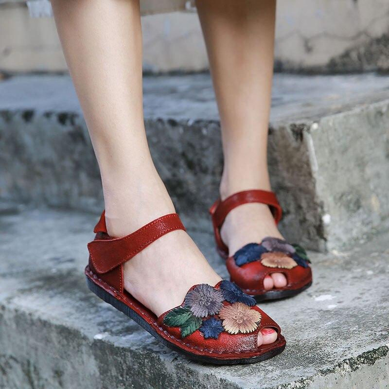 VALLU الصيف أحذية النساء الصنادل جلد طبيعي الزهور الصناعية زقزقة أصابع الكاحل حزام المرأة صندل مسطح-في صنادل للسيدات من أحذية على  مجموعة 1