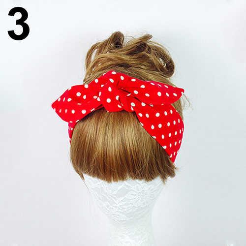 ホットヘアアクセサリー女性シュシュ花柄水玉ターバン結び目頭ワープヘッドバンドヘアバンド 7 色