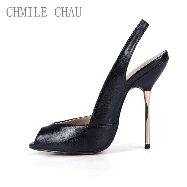 f64b257504f CHMILE CHAU Sexy Women Dress Party Pumps Peep Toe Stiletto Iron High Heel  Slingback Ladies Shoe Escarpins Talons Femmes 3845-g11