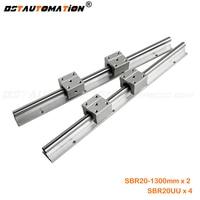 2pcs SBR20 linear guide rail 1300mm + 4pcs SBR20UU bearing block for cnc router parts