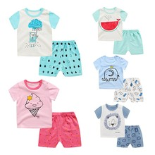 Kids Cotton Cute Cartoon Lion Elephant Clothes Children's Clothing Baby Boy Girl T-shirt Short-sleeved Shorts Two Sets 12M-5Y