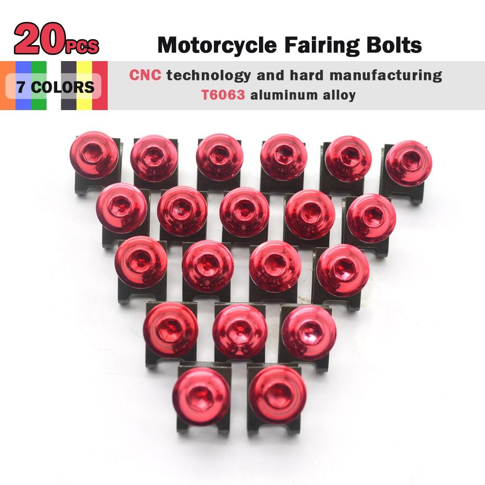 R QIANKONG 20 pcs m6 motorcycle fairing Bolts for honda 2003 2004 cbr 600rr 2005 2006 cbr600rr f5 e cbr954rr 2002 2003 cb400 red