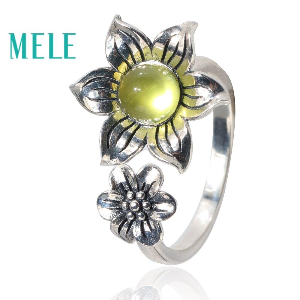 Jaune naturel prehnite 925 bagues en argent sterling pour women.6mm pierres précieuses rondes mignon fleurs forme mode et tendance