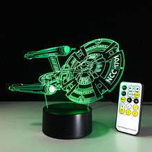 2017 New Star Trek 3D remote control colorful touch LED lamp Led Usb Power Bank Night Lamp