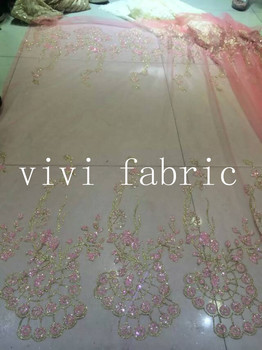 5yards HL315 peach flower tulle hand print glitter african india mesh fabric for wedding/evening dress/party,by dhl