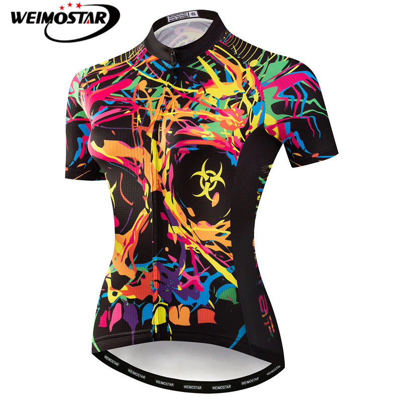 Weimostar Colorful Cycling Jersey Women Mountain Road Bike Jersey Skull Summer Short Sleeve Cycling Shirt Team Bicycle ClothingWeimostar Colorful Cycling Jersey Women Mountain Road Bike Jersey Skull Summer Short Sleeve Cycling Shirt Team Bicycle Clothing