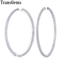 Transgems Big Size Round Brilliant 14K White Gold Moissanite Hoop Earrings 44MM Diameter with 2MM for Women Wedding