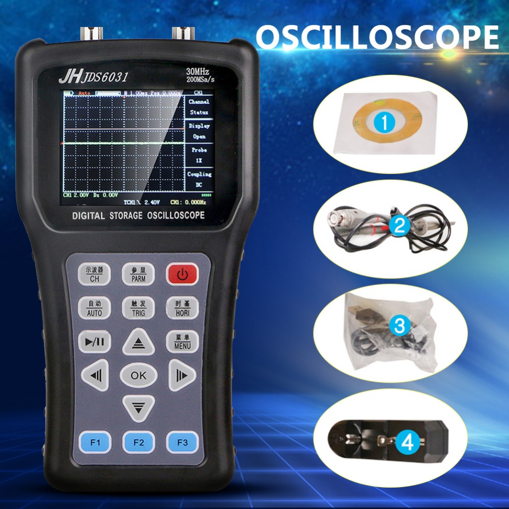 Hand-Held Osciloscópio portátil Osciloscópio Jinhan JDS6031 Com 1CH 30M 200MSa/S Strorage Digital Oscilloscope
