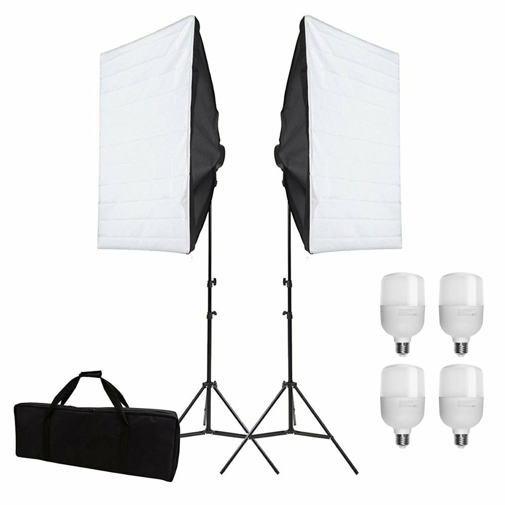ZUOCHEN 4x25W LED Continuous Lighting Kit 20inchx28inch 50x70cm Softbox Soft Box Photo Studio Set Light for Video Photo Shooting