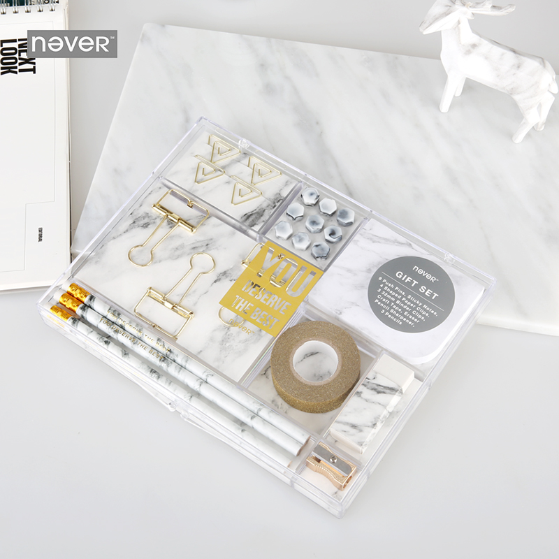 Never Marble Grain Stationery Sets Gift Sharpener Pencil Eraser Sharpener Memo Pad Nail Gold Metal Clips 2018 Accessories Office never marble binder clips gold metal clips document paper clips with clip holder fashion office accessories school supplies