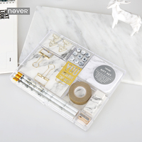 Never Marble Grain Stationery Sets Gift Sharpener Pencil Eraser Sharpener Memo Pad Nail Gold Metal Clips 2019 Accessories Office