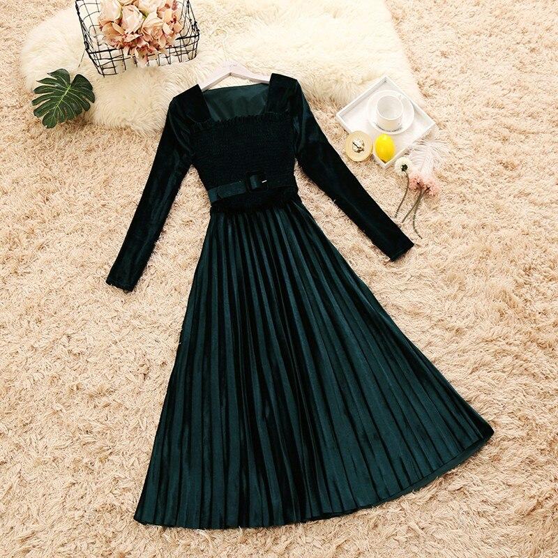 2018 autumn winter new female square collar ruffles velvet dresses women's long sleeve slim elegant pleated dress with belt