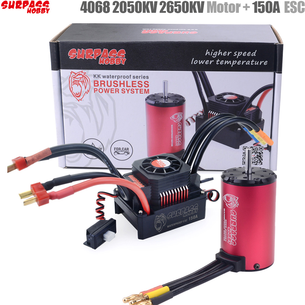 SURPASS HOBBY KK Waterproof Combo 4068 2050KV 2650KV Brushless Motor W/120A 150A Brushless ESC For 1/8 RC Drift Racing Car