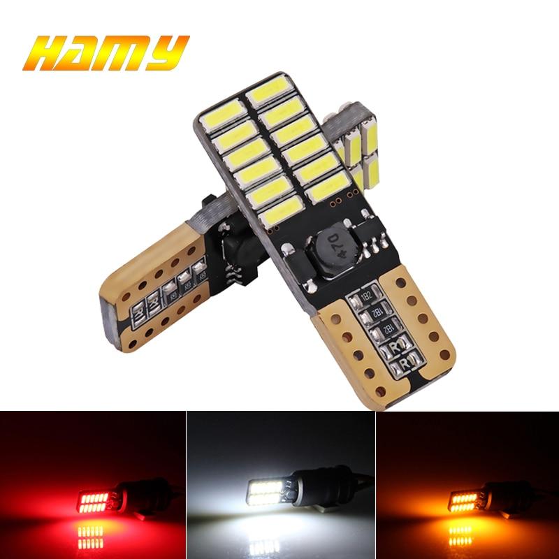 2x T10 LED Bulbs W5W Canbus 12V 24SMD 5000K White Car Interior Reading Light Wedge Side License Plate 5W5 LED Free Error 194 168