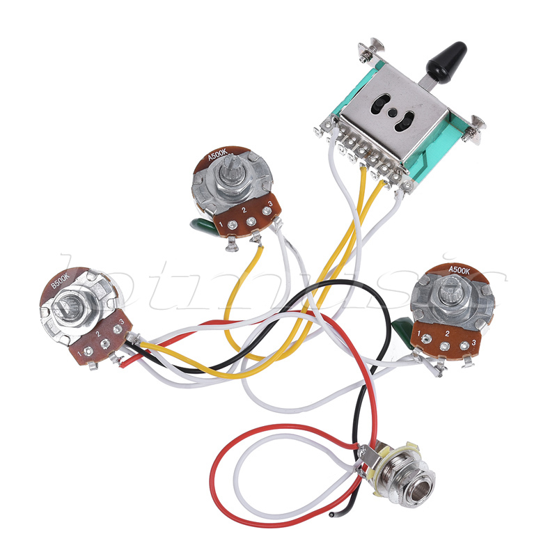 Electric Guitar Wiring Harness Prewired Kit for Guitar Parts 5 Way Toggle Switch 500K Pots 2T1V zebra metal and rubber 3 way switch electric guitar pickup toggle switch selector toggle switch with tip knob for guitar parts
