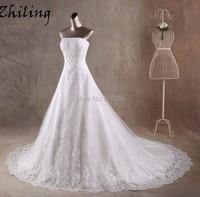 Zhiling New Model Strapless Organza Vestido De Noiva Bride Dress Wedding Dress With Lace Appliques Custom