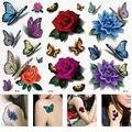 3 Hojas de 3D Colorido Impermeable Cuerpo Labios Arte Tatuajes Temporales Stickers Glitter BRICOLAJE Manga Mini Rose Flor de Mariposa