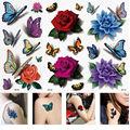 3 Sheets Women's 3D Colorful Waterproof Body Lip Art Sleeve DIY Stickers Glitter Temporary Tattoos Mini Rose Flower Butterfly