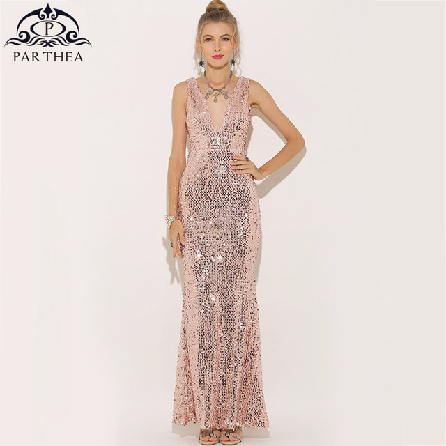 Parthea Plunge V-neck Women Sexy Maxi Dress Gold Mermaid Sequin Party Dress  Bling Metallic 67dac1056af4