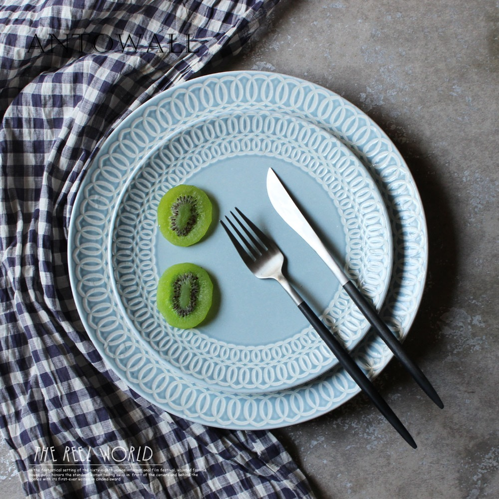 ANTOWALL Simple ceramic dish household tableware blue white line coil relief disc Western style steak pasta plate