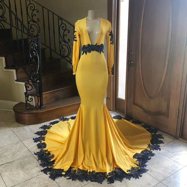04e6513a940 Yellow Long Sleeve Mermaid Formal Evening Dress Deep V Neck Sweep Train  Elastic Satin With Black Lace Custom Made Prom Gowns
