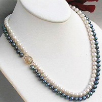 Charm 2 Row 7 8mm Black White Natural Freshwater Cultured Pearl Round Beads Necklace Free Shipping