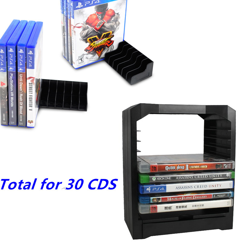 Games Disc Storage Tower 10 games CD holder for Xbox One Playstation 4 PS4 With 20pcs CD Disks or Card Stand Holders Support