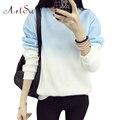 Artsu outono inverno engrossar lã gradiente de cor camisola hoodies mulheres com capuz agasalho com capuz bonito clothing asho50037